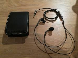 "Sennheiser CX-985s, complete with ""leather"" case"